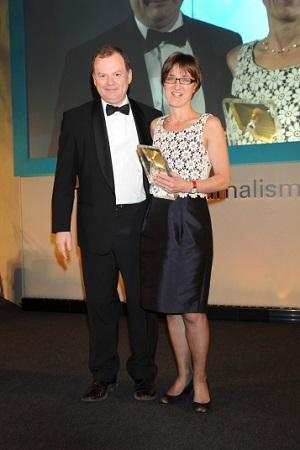 Founder Susannah Schofield being given RTS Judges' Award by Richard Sambrook