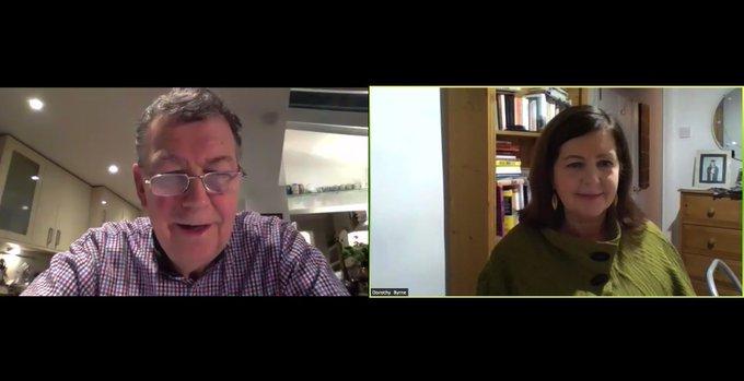 Nick Pollard interviewing Dorothy Byrne via Zoom for JST masterclass