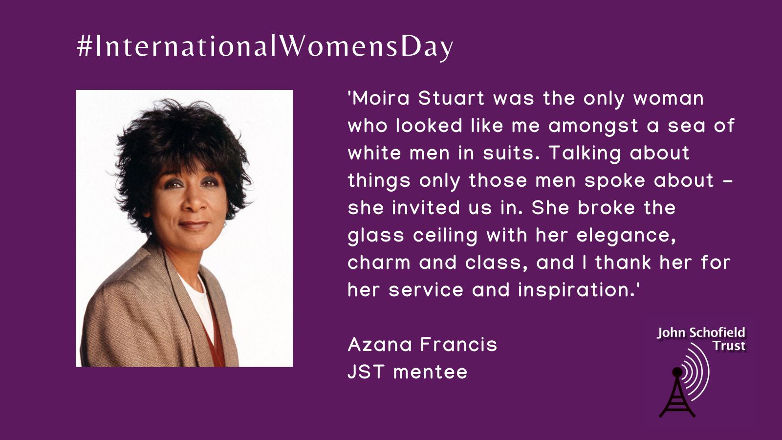 Azana Francis's inspirational woman, Moira Stuart