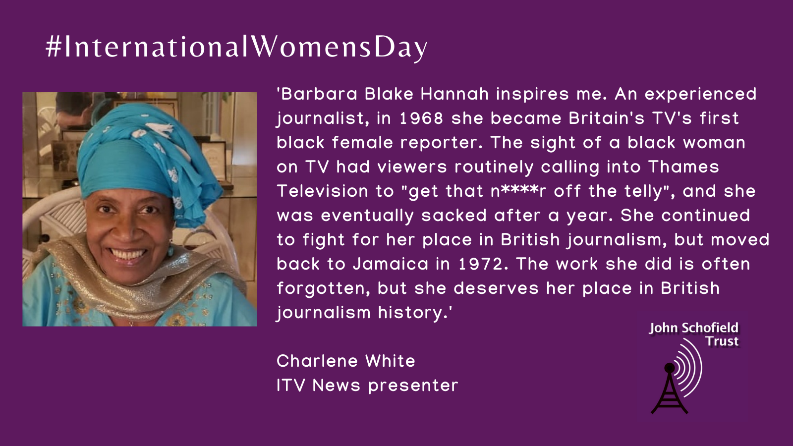 Today's #IWD2021! We're finding out which women inspire us. JST mentor, @CharleneWhite nominates @BBlakeHannah! Help us celebrate #IWD by telling us who's your #InspiringWoman?