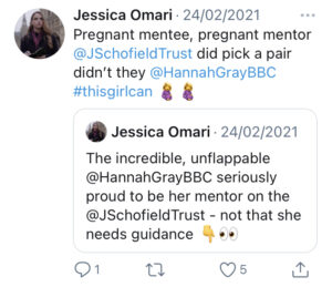 Tweet from Jessica Omari saying 'pregnant mentee, pregnant mentor, @JSchofieldTrust did pick a pair didn't they @HannahGrayBBC #thisgirlcan with two pregnant woman emojis