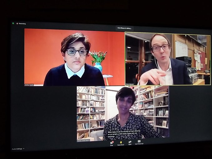 Screen shot of Zaiba Malik, Chris Mason and Reeta Chakrabarti, at live-presenting masterc;lass