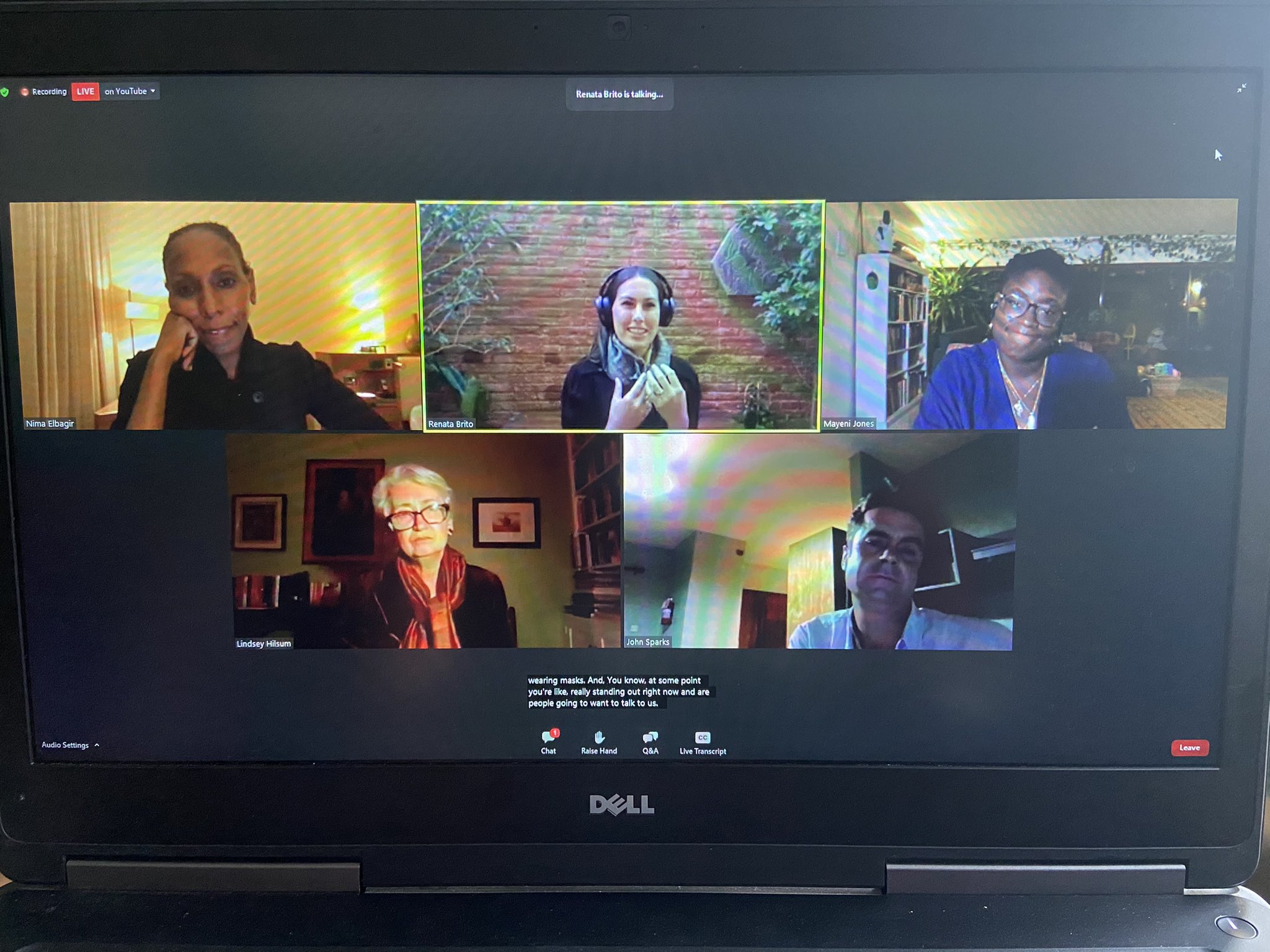 An image of a laptop screen with Nima Elbagir, Renata Brito, Mayeni Jones, Lindsey Hilsum, and John Sparks speaking on a Zoom webinar