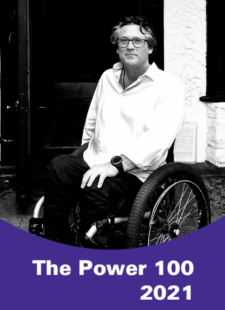Black and white photo of Grant Logan with 'The Power 100 2021' graphic imposed on top
